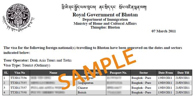 Sample of Bhutan Travel Visa